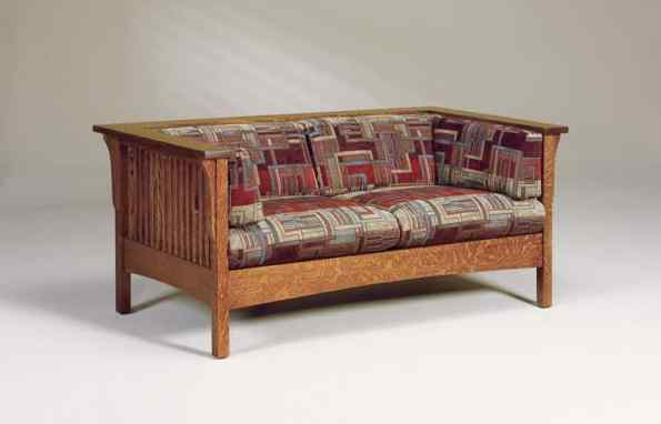 CubicSlatLoveseatA : Mission style chairs, recliners, sofas, etc. : Illinois Amish Crafted ...